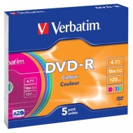 ДИСК DVD-R VERBATIM 16X, 4.7 GB, COLOR, SLIM CASE /1/5//23319801